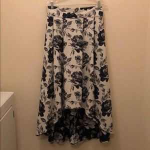 Navy floral high-low skirt